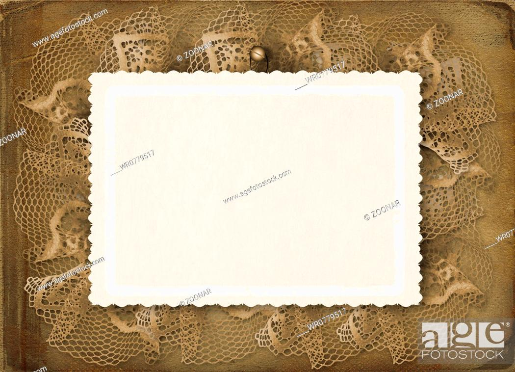 Stock Photo: Grunge papers design in scrapbooking style with lace.
