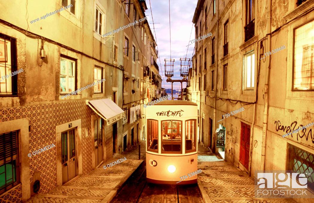 Stock Photo: Electrico in the quarter of Bairro Alto. Lisbon, Porugal.
