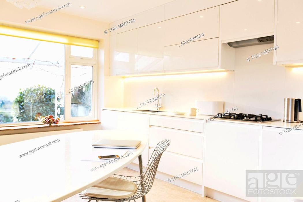 Stock Photo: Modern white kitchen.
