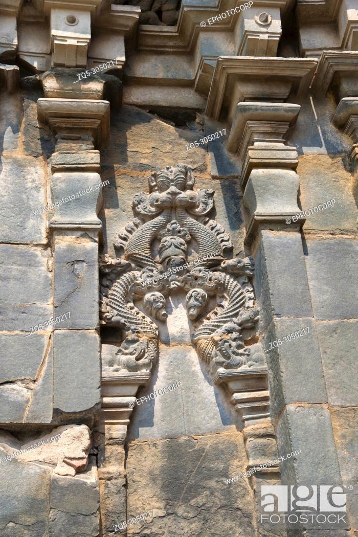 Stock Photo: Kashivishvanatha Temple, Lakundi, Karnataka State, India. Inscriptions and motifs.