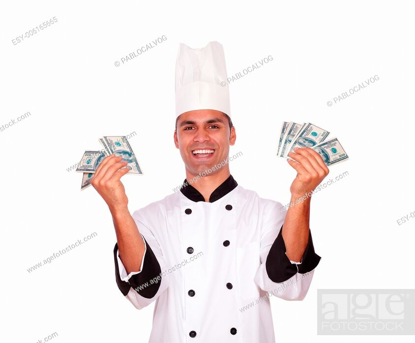 Stock Photo: Portrait of a happy male in cook uniform holding money on white background.