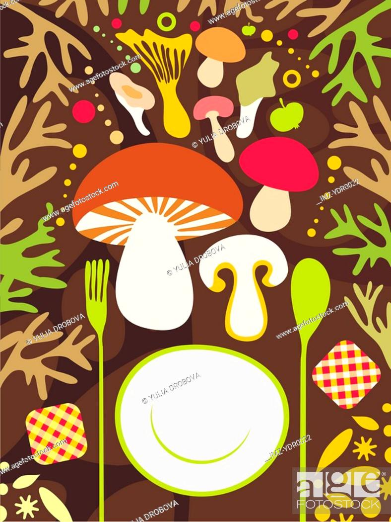 Stock Photo: A fork, plate and spoon and an assortment of mushrooms.