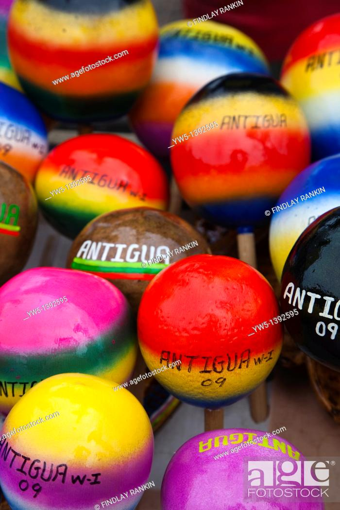 Stock Photo: Multicoloured maracas for sale from a street vendor in St Johns, Antigua, Caribbean, West Indies.