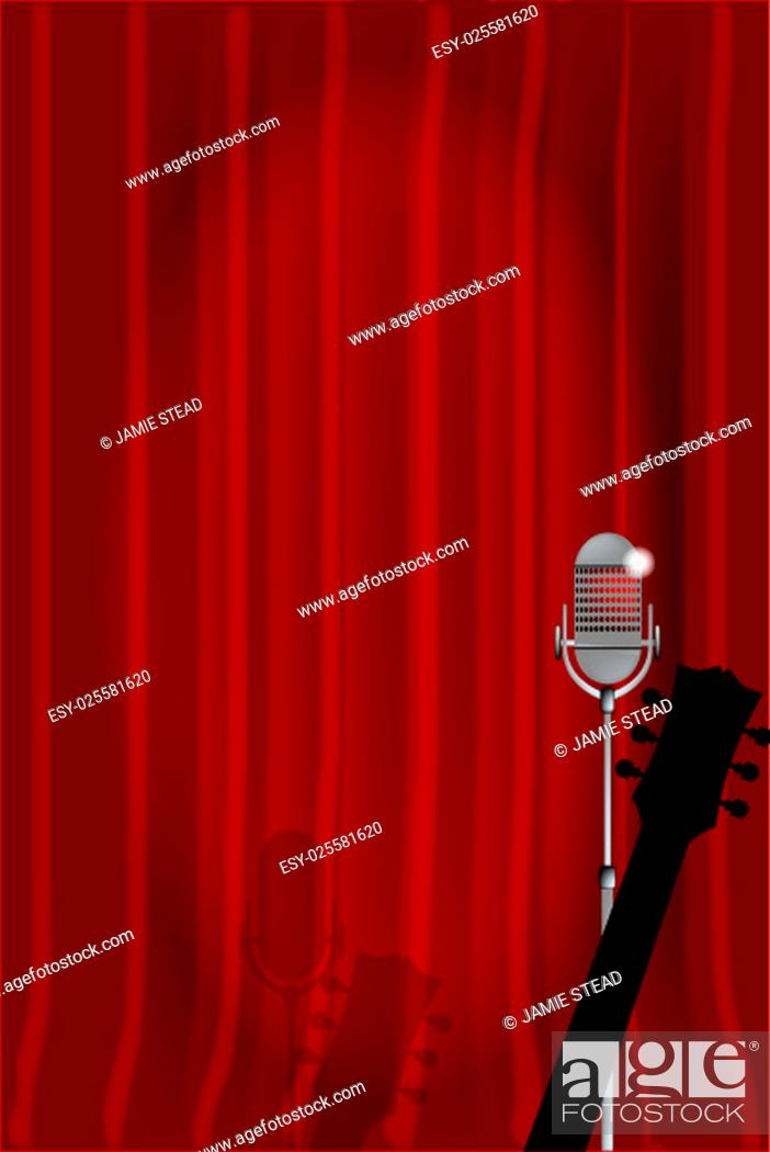 Stock Photo: A microphone and acoustic guitar ready on stage against a red curtain.