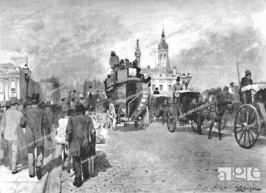 Stock Photo: 'London Bridge - Going Across', 1891. Artist: William Luker.