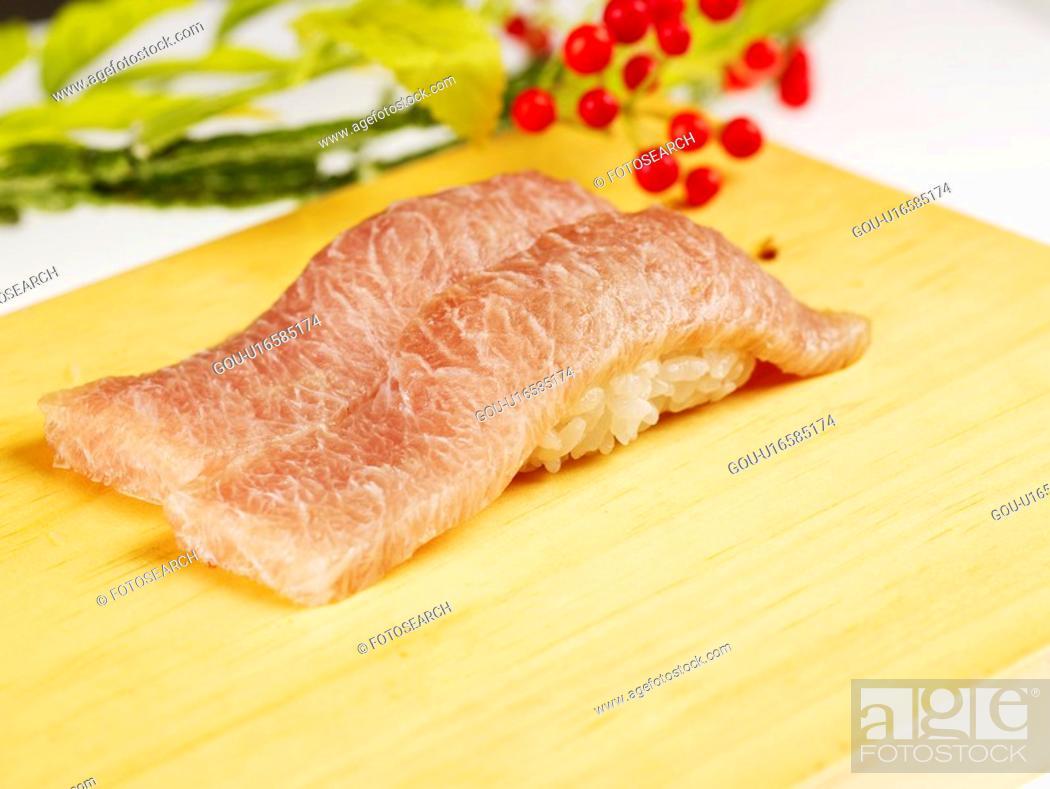 Stock Photo: tuna sushi, plate, tuna, decoration, food styling, food, sushi plate.