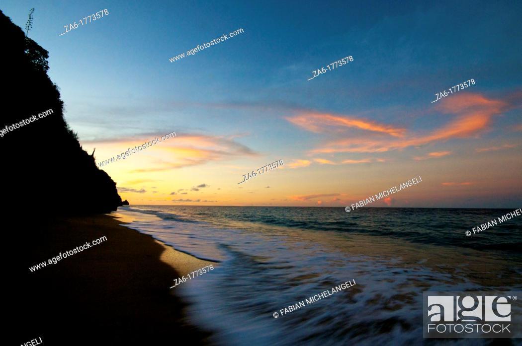 Stock Photo: Sunset at the beach  Paria Peninsula, Eastern Venezuela.