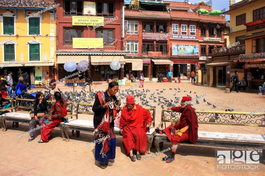 Imagen: inner city of Bodnath, around the Stupa, Nepal, Kathmandu.