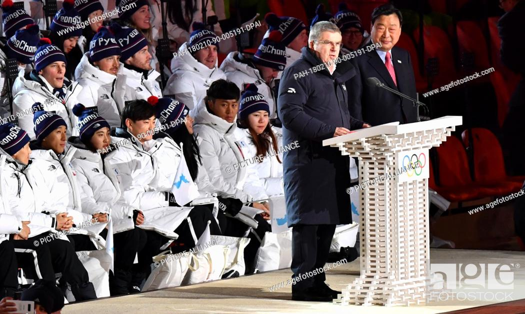 Stock Photo: Thomas Bach (l), the German president of the International Olympic Committee (IOC) speaks at the opening ceremony of the Winter Olympics in Pyeongchang.