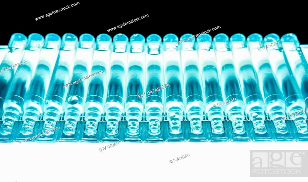 Stock Photo: Bufus - plastic drop, ampoule, vial, spray the medicine . Cast resin sealed container filled with a liquid drug . The polymeric material of the container - a.