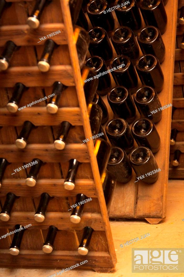 Stock Photo: Bobal wine bottles.