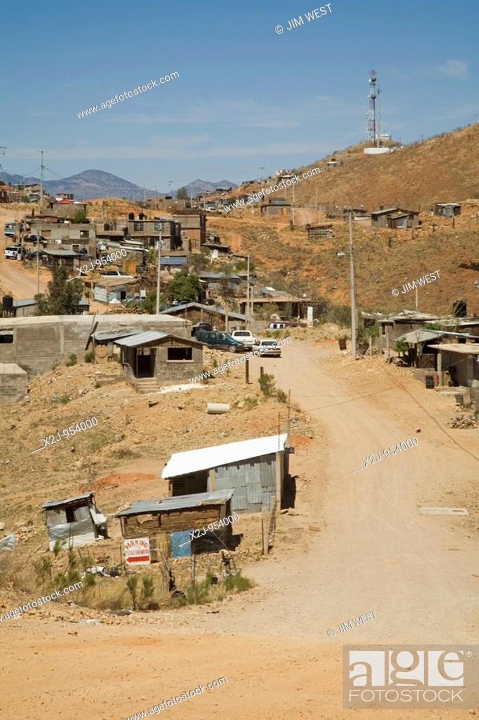 Stock Photo: Nogales, Sonora, Mexico - The Rosarito colonia, or neighborhood, on the hills above Nogales  Residents usually have electricity.
