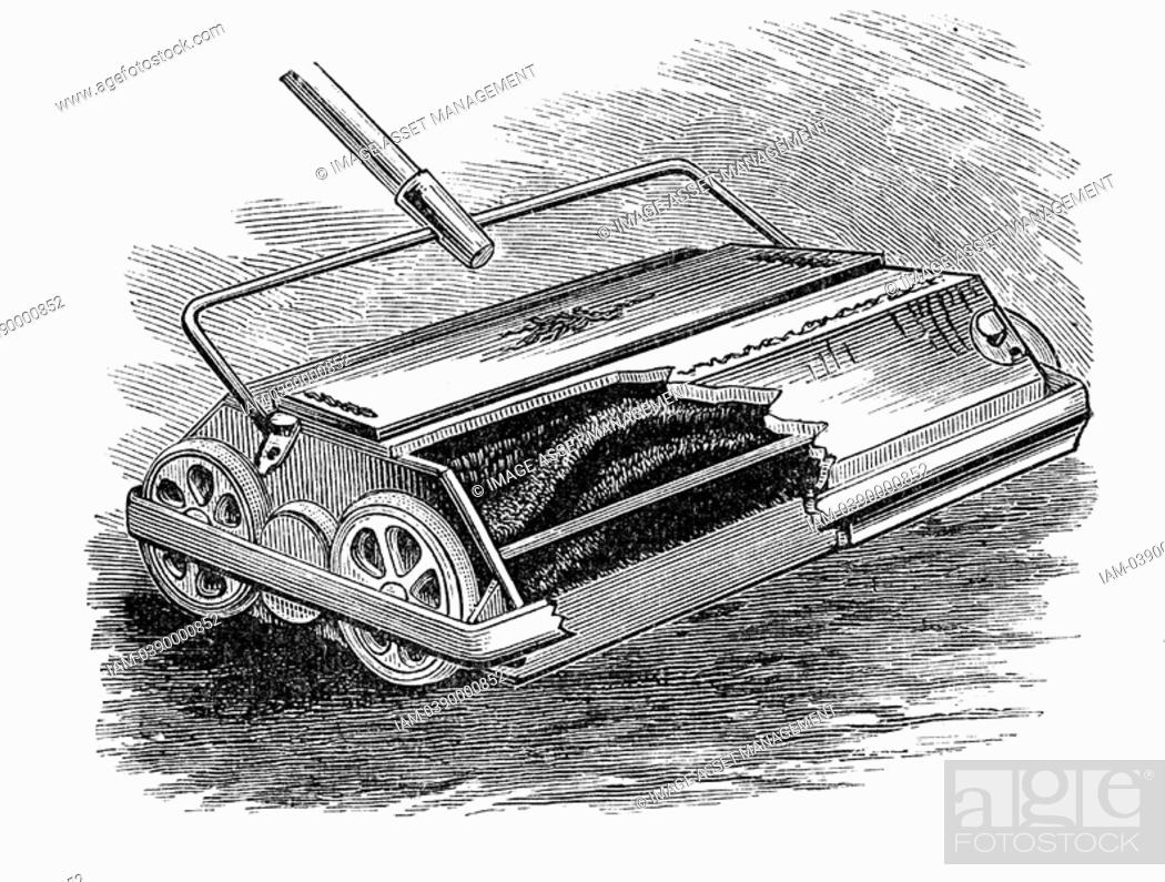 Stock Photo: Carpet sweeper or Bissell, newly introduced from the United States  Engraving, London, 1887.
