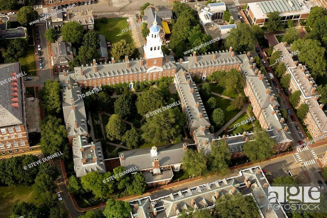 Stock Photo: Lowell House, aerial view, Harvard University, Cambridge, Massachusetts, USA.