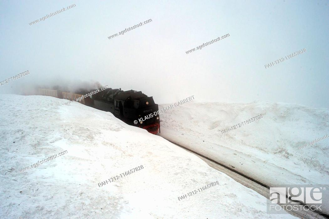Stock Photo: 07 February 2019, Saxony-Anhalt, Brocken: The Brockenbahn of the Harzer Schmalspurbahnen (HSB) travels in the fog between two metres high snow drifts.