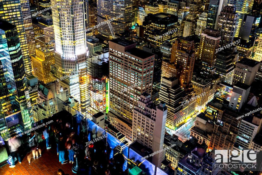 Stock Photo: New York Manhattan night view. Shooting Location: New York, Manhattan.