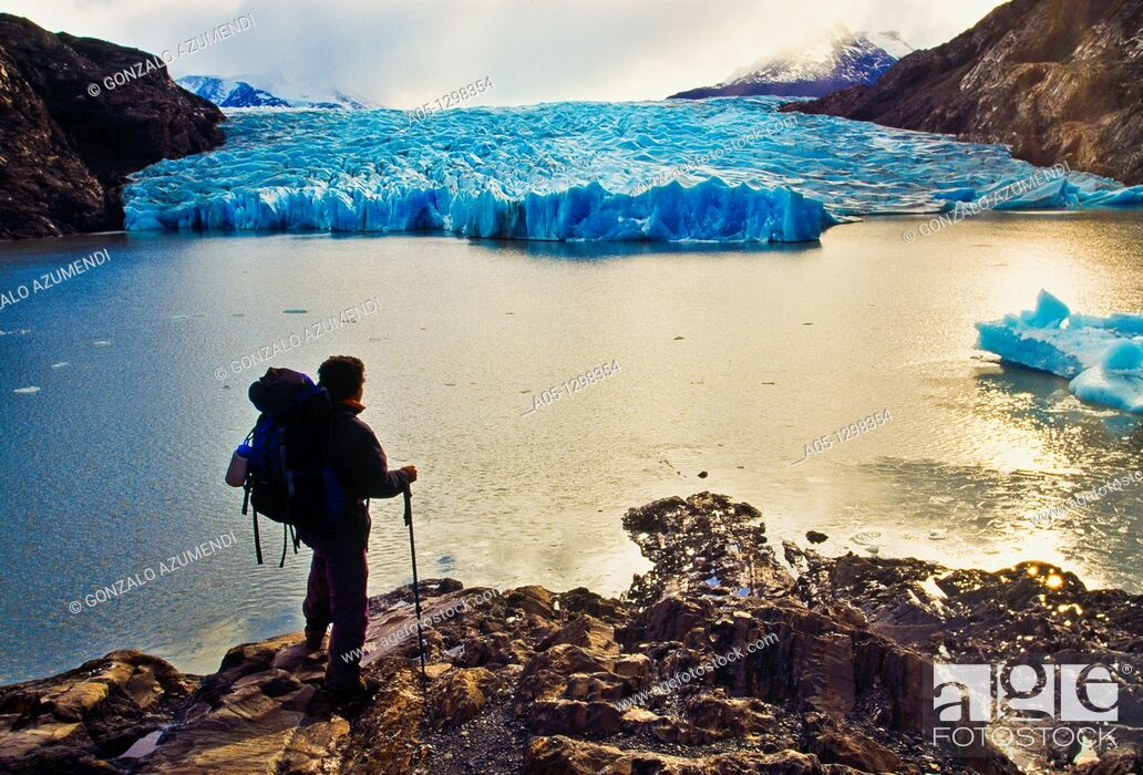 Stock Photo: Grey Glacier  Grey lake  Torres del Paine National Park  UNESCO World Biosphere Reserve, Patagonia, Chile, South America.