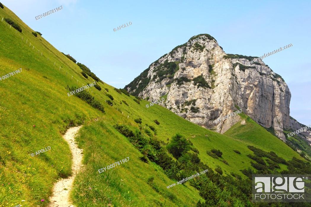 Stock Photo: Hiking area Alpstein mountain range, canton of Appenzell Inner Rhodes, Switzerland.