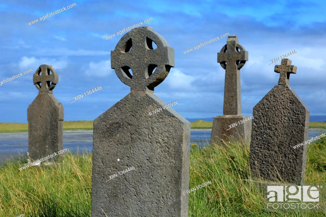 Stock Photo: Killeany cemetery, Inishmore island, Aran islands, Galway county, Ireland.