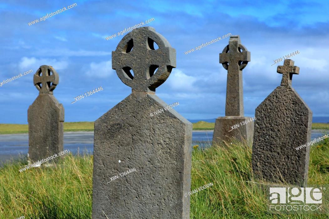 Stock Photo: Killeany cemetery, Inishmore island, Aran islands, Galway county, Ireland.