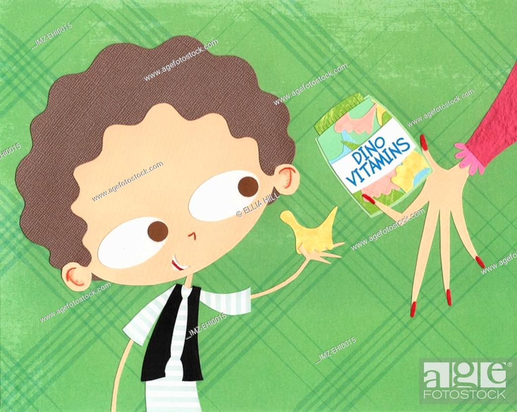 Stock Photo: A paper cut illustration of a young boy taking vitamins.