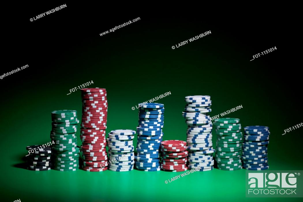 Stock Photo: Rows of stacked gambling chips.