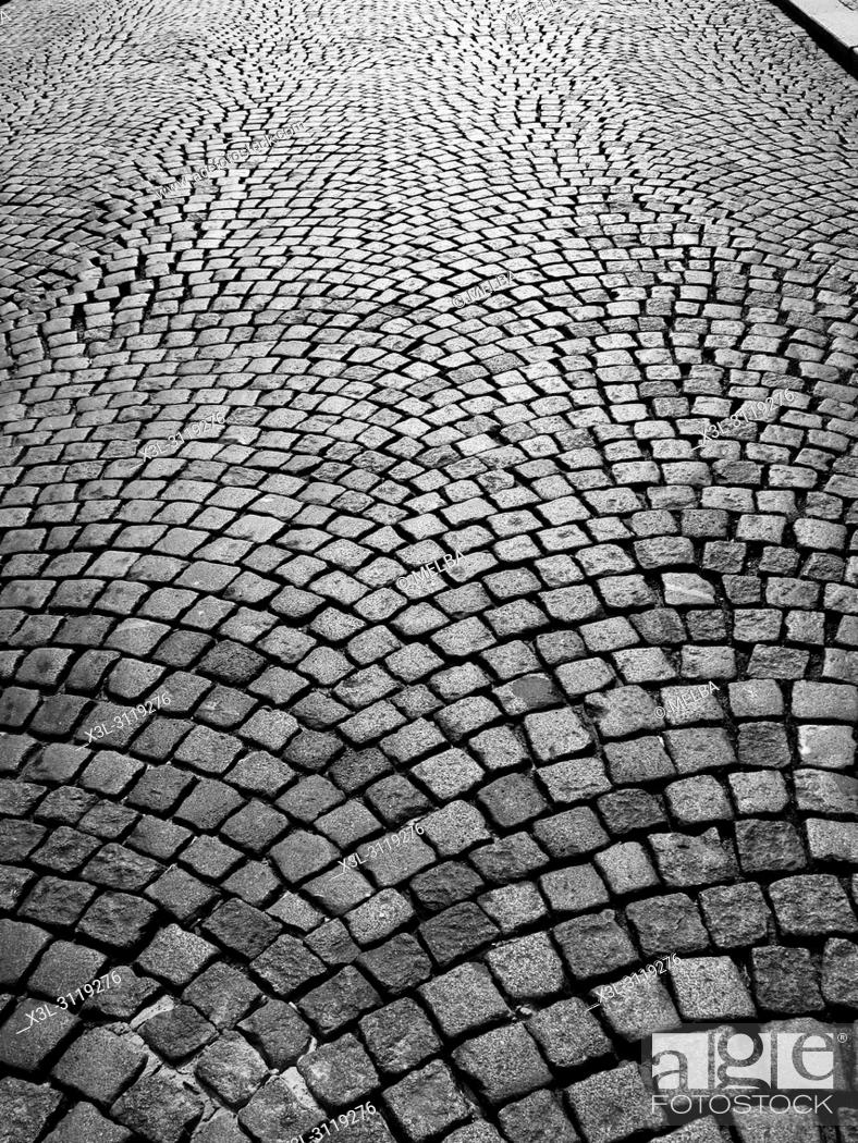 Stock Photo: Cobbled street, Prague. Czech Republic.