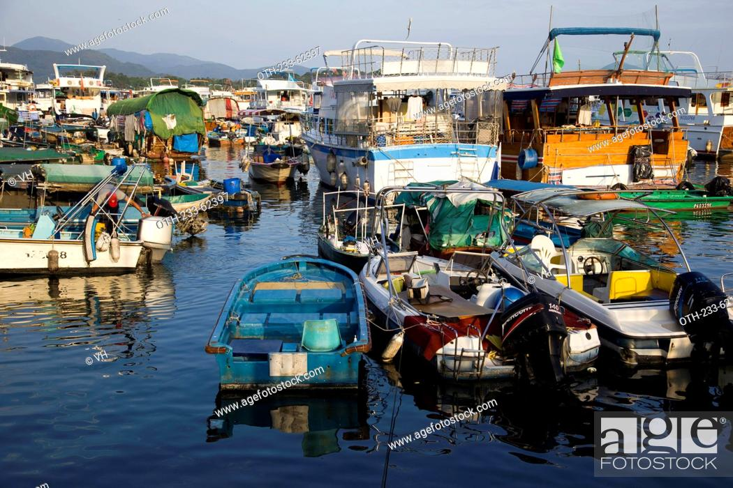 Stock Photo: Mooring at Sai Kung inner shelter, Hong Kong.