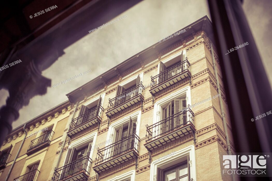 Stock Photo: Facades in Madrid. San Miguel market, Madrid, Spain.