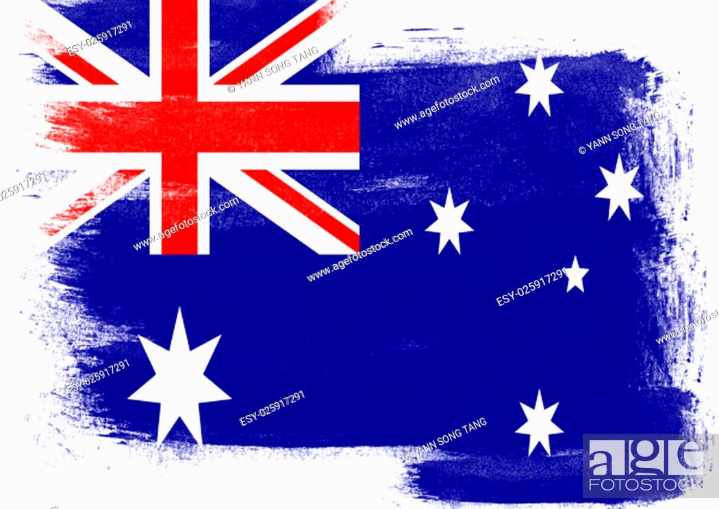 Stock Photo: Flag of Australia painted with brush on solid background,.