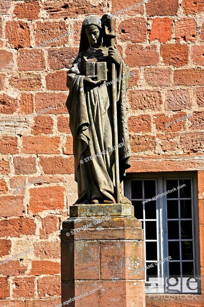 Stock Photo: SAINT ODILE, ODILE 'PATRON SAINT OF ALSACE' WITH HER ABBESS' CROSS, ABBEY OF MONT SAINT ODILE, STRASBOURG, BAS-RHIN 67, ALSACE, FRANCE.