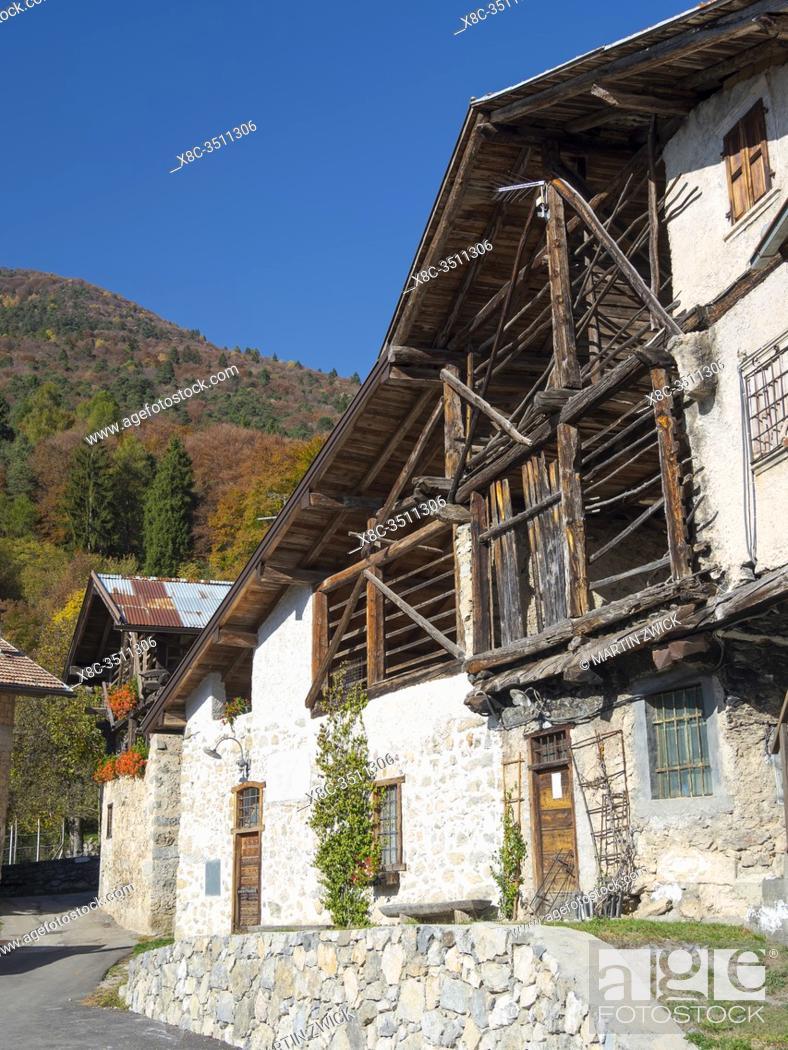 Stock Photo: Medieval village Iron in the Dolomiti di Brenta, part of UNESCO world heritage Dolomites. Europe, Italy, Trentino.