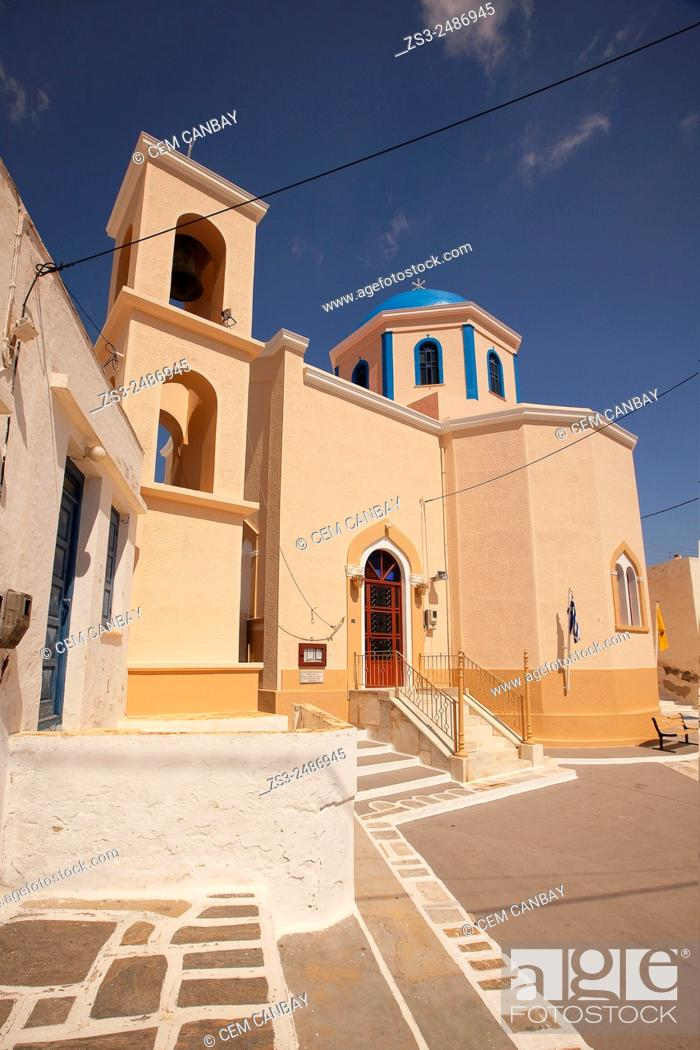 Stock Photo: Colorful church in Hora, Serifos, Cyclades Islands, Greek Islands, Greece, Europe.