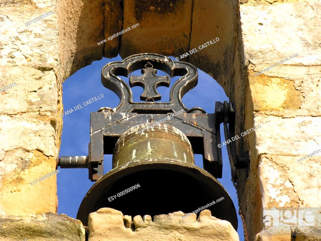 Stock Photo: Bell of a Spanish church, Puertomingalvo, Teruel province, Spain.