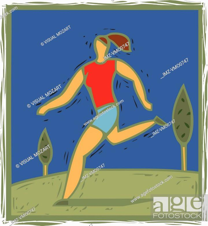 Stock Photo: Illulstration of a woman jogging.