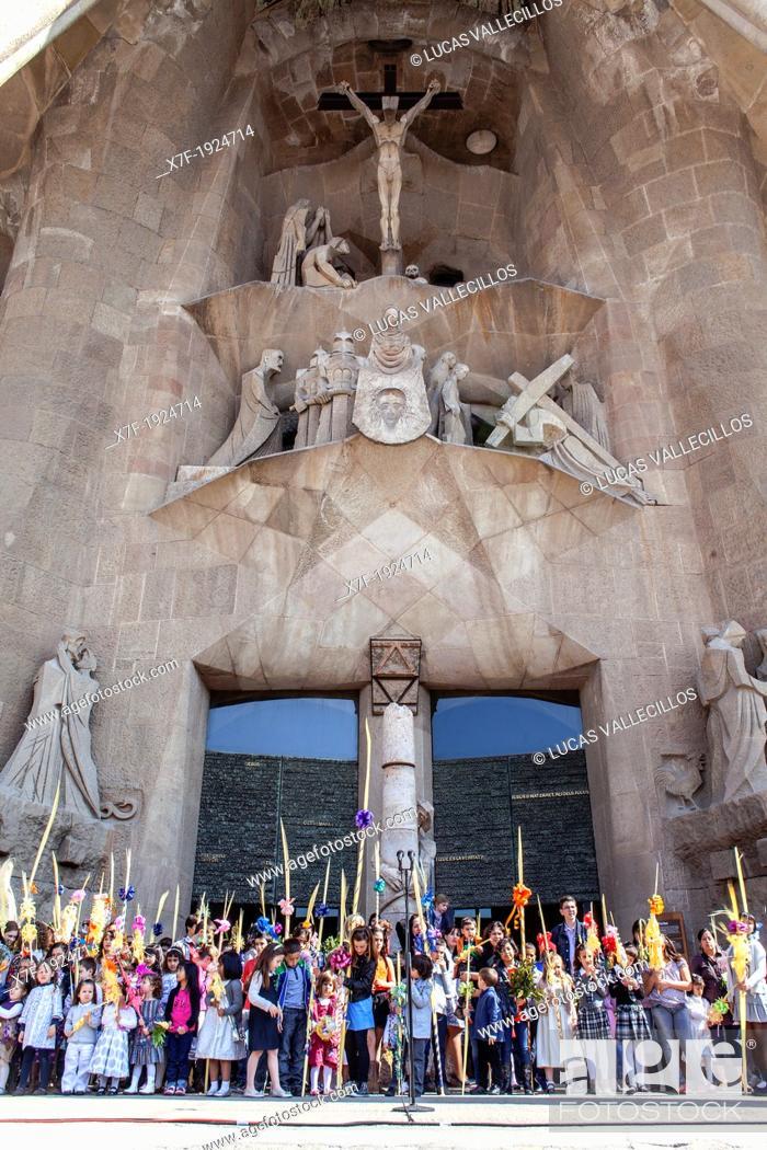 Stock Photo: mass of Palm Sunday Passion facade,exterior of Basilica Sagrada Familia, Barcelona, Catalonia, Spain.