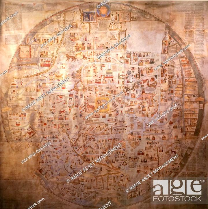 A detailed medieval map of the world as it was known dated 14th stock photo a detailed medieval map of the world as it was known dated 14th century gumiabroncs Gallery