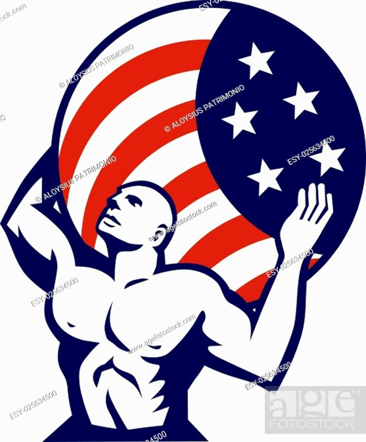 Vector: Illustration of Atlas looking up carrying on his back globe world earth draped with usa american stars and stripes flag viewed from front set on isolated white.