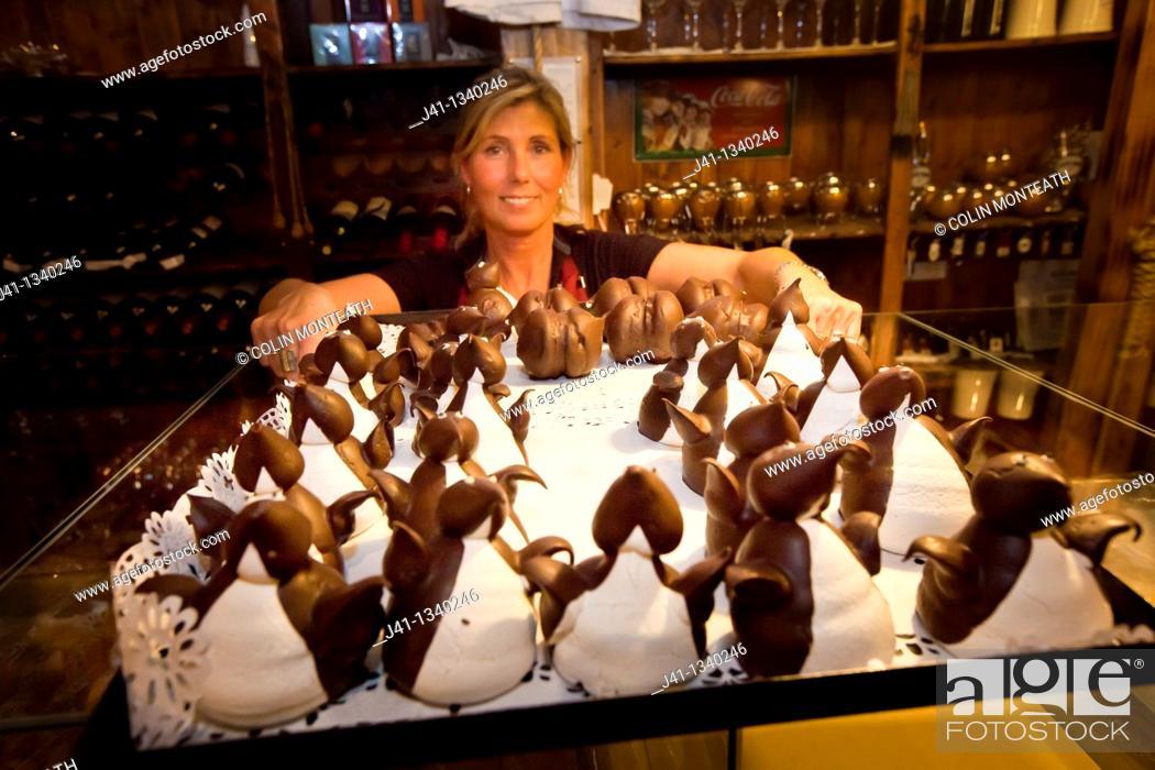 Stock Photo: Waitress serves iced penguin cakes, Ramos Generales cafe, Ushuaia, Argentina.