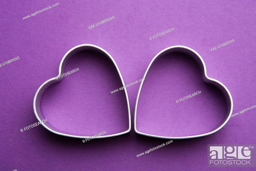 Stock Photo: Close-Up, Colored Background, Heart Shape, Indoors.