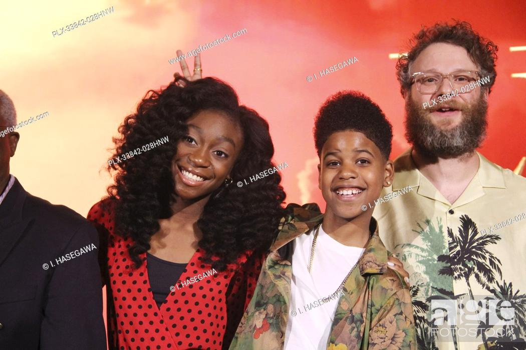 """Stock Photo: Shahadi Wright Joseph, JD McCrary, Seth Rogen 07/10/2019 """"""""The Lion King"""""""" Press Conference held at the Montage Beverly Hills Luxury Hotel in Beverly Hills, CA."""