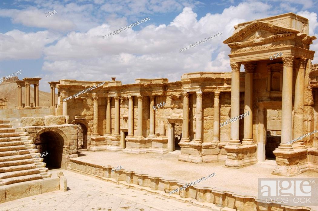 Stock Photo: Syria - Palmyra. Ancient Palmyra. UNESCO World Heritage List, 1980. Theatre, 1st-2nd century AD. Forestage.