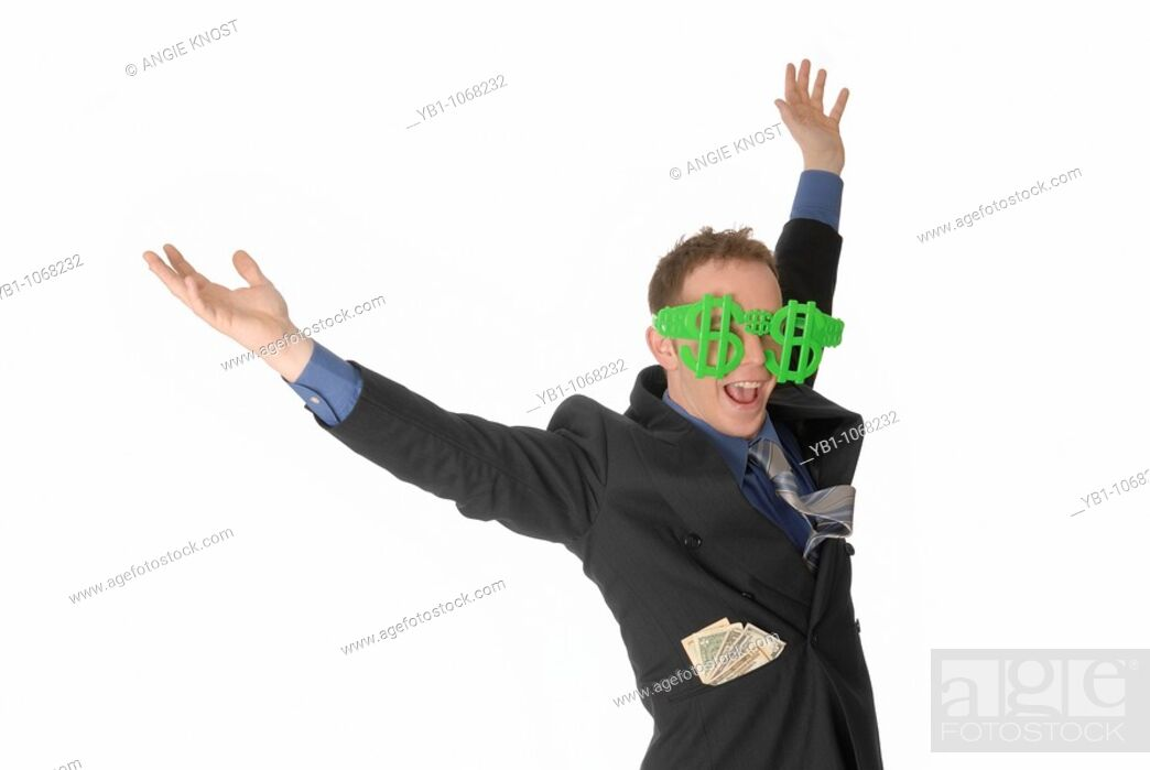 Stock Photo: Happy man throwing hands in the air, with dollar sign glasses.