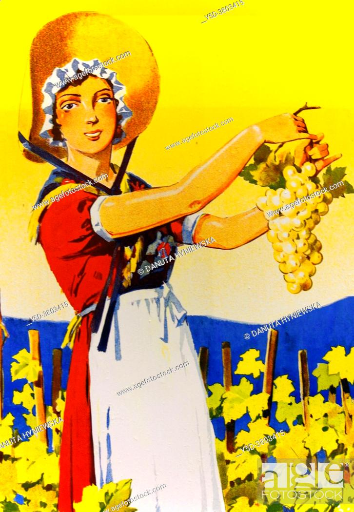 Imagen: Poster by Edouard Elzingre, La Genevoise, Vin blanc de Geneve, ca 1935, promotion of local white wines from Geneva region.