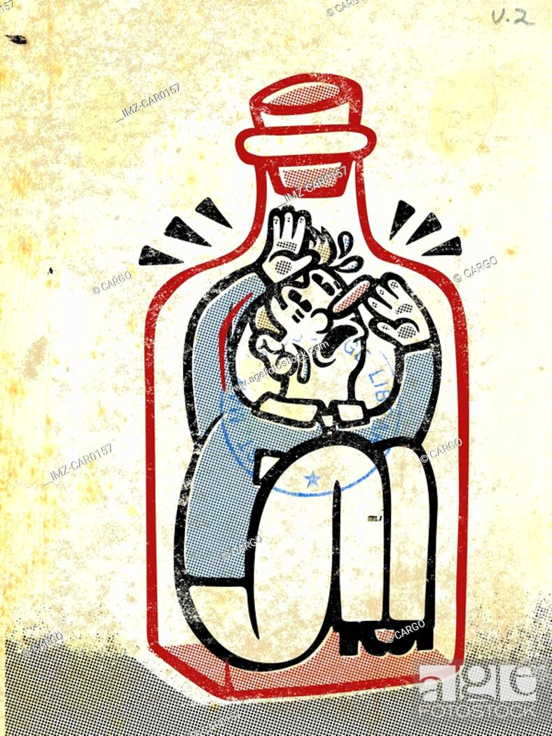 Stock Photo: Drawing of a man trapped inside a bottle.