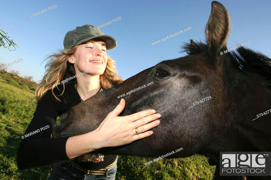 Stock Photo: Woman and horse.