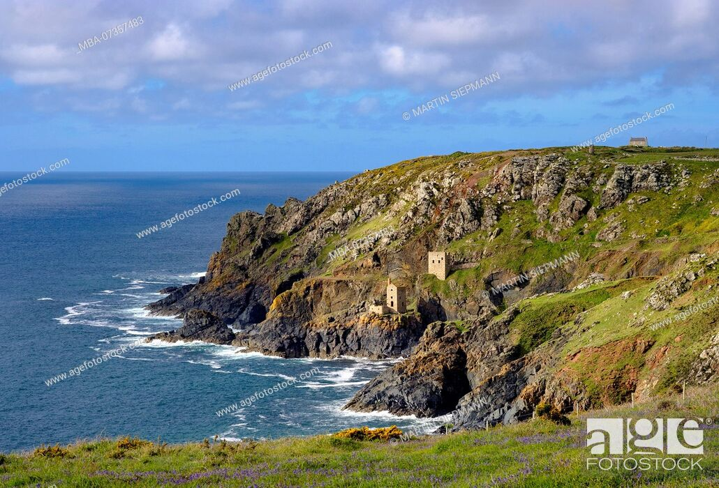 Stock Photo: Rocky coast with ruins of the former Mine, Botallack Mine, St Just in Penwith, Cornwall, England, UK.