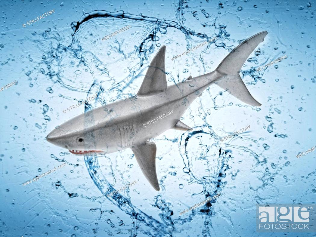 Stock Photo: Shark toy with splashing water against blue background.