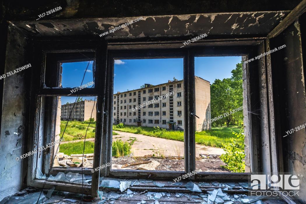 Stock Photo: House of flats in Skrunda-1 ghost town, former site of Soviet Dnepr radar station from Cold War period near Skrunda town in Latvia.