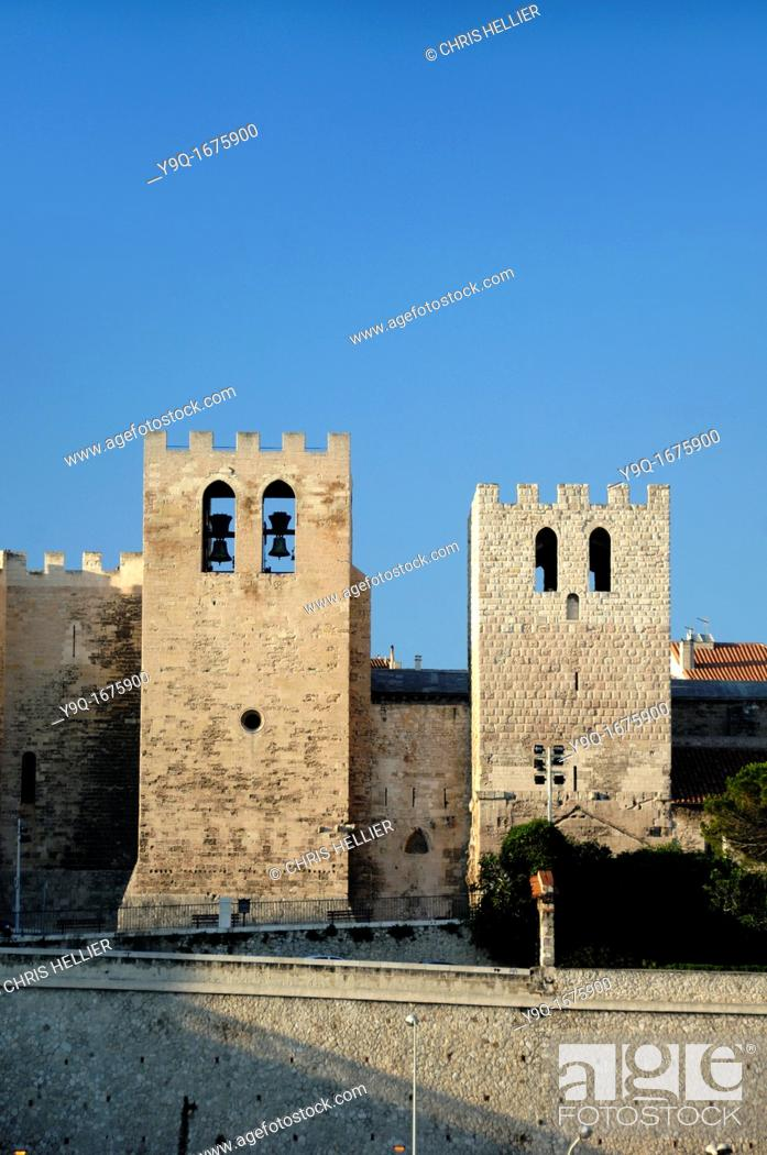 Stock Photo: Fortified Church of Saint Victor Marseille or Marseilles Bouches-du-Rhône Provence France.
